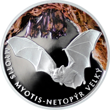 Stříbrná mince 1 NZD Ohrožená příroda - Netopýr velký 2016 Proof
