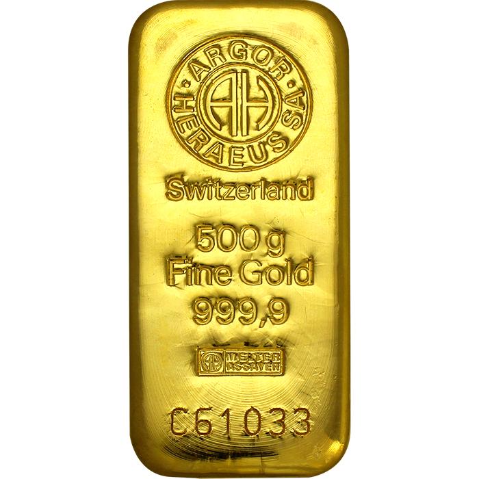 580b13b63 500g Argor Heraeus SA Švajčiarsko Investičná zlatá tehlička