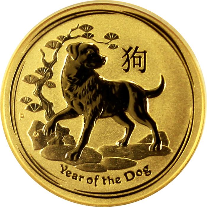 5078afa3c Zlatá investičná minca Year of the Dog Rok Psa Lunárny 1/10 Oz 2018