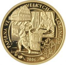 Zlatá minca 2500 Kč Papierne Velké Losiny 2006 Proof