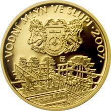 Zlatá minca 2500 Kč Vodný mlyn v Slupi 2007 Proof