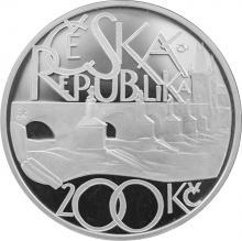 Strieborná minca 200 Kč Položenie základného kameňa Karlovho mostu 650. výr. 2007 Proof
