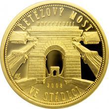 Zlatá minca 2500 Kč Reťazový most v Stádlci 2008 Proof