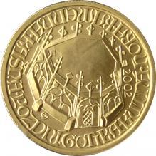 Zlatá minca 2000 Kč Kašna Kutná Hora Pozdná Gotika 2002 Štandard