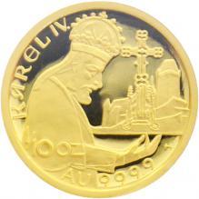 Zlatá mince 1000 Kč KAREL IV. Založení Karlštejna 1999 Proof