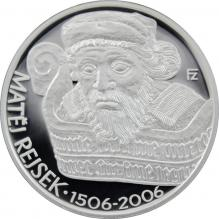 Strieborná minca 200 Kč Matěj Rejsek 500. výročie úmrtia 2006 Proof