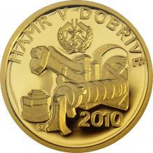 Zlatá minca 2500 Kč Hamr v Dobřívě 2010 Proof