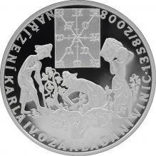 Strieborná minca 200 Kč Karol IV. Vydané nariadenie o zakl.vinic 650. výr. 2008 Proof
