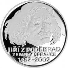 Stříbrná mince 200 Kč Jiří z Poděbrad zemským správcem 550. výročí 2002 Proof