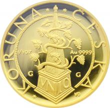 Zlatá minca 2500 Kč Tolar moravských stavov 1997 Proof