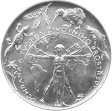 Stříbrná mince 200 Kč Ochrana a tvorba životního prostředí 1994 Proof
