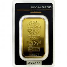 100g Argor Heraeus SA Švajčiarsko Investičná zlatá tehlička