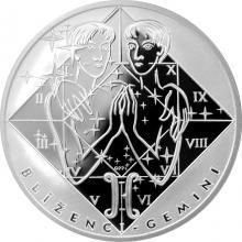 Stříbrná medaile Blíženci Znamení zvěrokruhu Proof