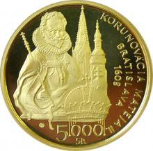 Zlatá mince Matyáš Habsburský Matej II. Korunovace 400. Výročí 2008