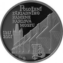 Platinová uncová medaile Karlův most Základní kámen 650. Výročí 2007 Proof