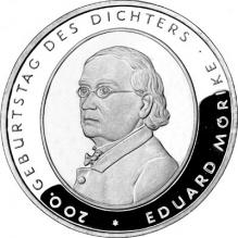 Eduard Mörike Stříbrná pamětní mince 2004 Německo