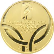Zlatá čtvrtuncová medaile Olympijské hry Peking 2008 Proof