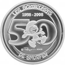 Strieborná minca Šmolkovia 50. výročie 2008