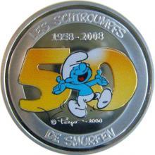 Strieborná minca Šmolkovia kolorovaná 50. výročie 2008 Proof