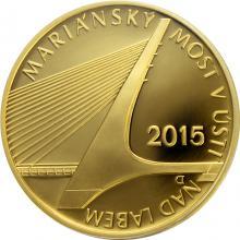 Zlatá minca 5000 Kč Mariánský most v Ústí nad Labem 2015 Proof