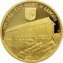 Zlatá mince 5000 Kč Dřevěný most v Lenoře 2013 Proof