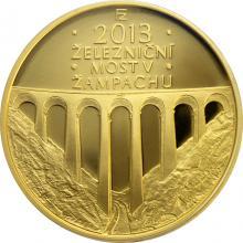 Zlatá minca 5000 Kč Železničný most v Žampachu 2013 Proof