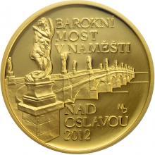 Zlatá minca 5000 Kč Barokní most v Náměšti nad Oslavou 2012 Proof