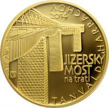 Zlatá minca 5000 Kč Jizerský Viadukt na trati Tanvald - Harrachov 2014 Proof