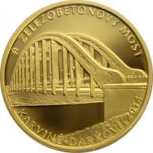 Zlatá mince 5000 Kč Železobetonový most v Karviné - Darkově 2014 Proof