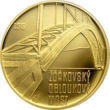 Zlatá minca 5000 Kč Žďákovský oblúkový most 2015 Proof