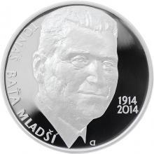 Strieborná minca 200 Kč Tomáš Baťa ml. 100. výročie narodenia 2014 Proof