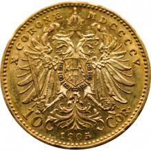 Zlatá mince Desetikoruna Františka Josefa I. Rakouská ražba 1905