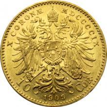 Zlatá minca Desaťkorunáčka Františka Jozefa I. Rakúská razba 1909