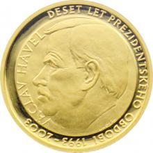 Zlatá čtvrtuncová medaile Václav Havel a Vznik ČR 10.výročí 2003 Proof