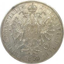 Stříbrná mince Dvoutolar spolkový František Josef I. 1865