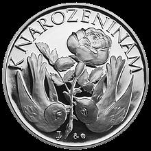 Stříbrná medaile K narozeninám s textem Vše nejlepší... Proof