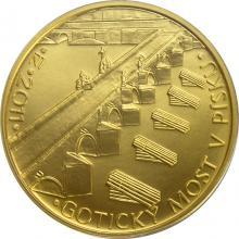Zlatá minca 5000 Kč Gotický most v Písku 2011 Štandard