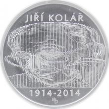 Stříbrná mince 500 Kč Jiří Kolář 100. výročí narození 2014 Štandard