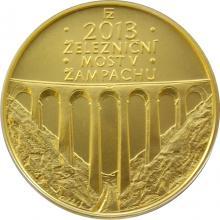 Zlatá mince 5000 Kč Železniční most v Žampachu 2013 Standard