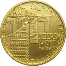 Zlatá minca 5000 Kč Jizerský Viadukt na trati Tanvald - Harrachov 2014 Štandard