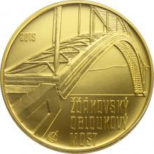 Zlatá minca 5000 Kč Žďákovský oblúkový most 2015 Štandard