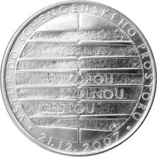 Stříbrná mince 200 Kč Vstup do schengenského prostoru 2008 Standard