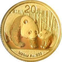 Zlatá investiční mince Panda 1/20 Oz