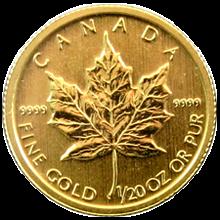 Zlatá investiční mince Maple Leaf 1/20 Oz