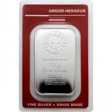 100g Argor Heraeus SA Švajčiarsko Investičná strieborná tehlička