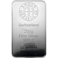 250g Argor Heraeus SA Švýcarsko Investiční stříbrný slitek