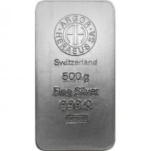 500g Argor Heraeus SA Švajčiarsko Investičná strieborná tehlička