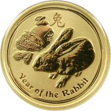 Zlatá investičná minca Year of the Rabbit Rok Králika Lunárny 1/10 Oz 2011