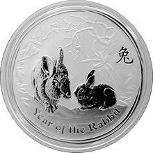 Stříbrná investiční mince year of the rabbit Rok Králíka Lunární 1/2 Oz 2011