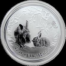 Stříbrná investiční mince Year of the Rabbit Rok Králíka Lunární 1 Oz 2011